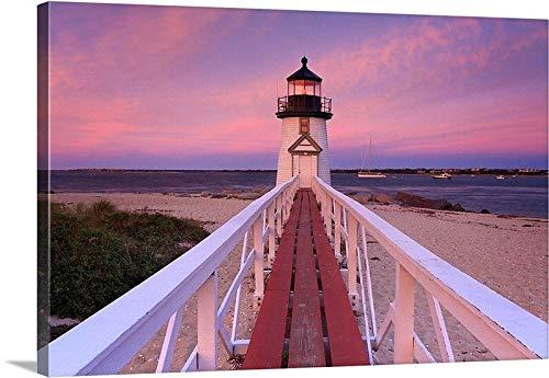 Dwi24isty Canvas Print Canvas Art Wrap Beach Decor Photography Lighthouse Photo Nantucket Picture Brant Point Sunset Pink Purple Coastal Decor Bedroom Bathroom Decoration Wall Art Wall Decor