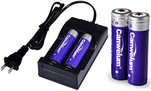 Canwelum Protected 3.7V 18650 Lithium Ion Battery and Charger, 3mm Longer than Top Flat Ones - Applicable for High-power LED Flashlights, Headlamps (4 x Batteries and 1 x Charger)