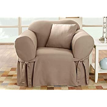 Sure Fit Cotton Duck   Chair Slipcover   Linen (SF26664)