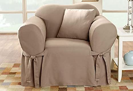 Beau Amazon.com: SureFit SF26664 Cotton Duck Heavyweight Chair Slipcover, Linen:  Kitchen U0026 Dining