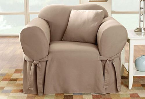Arm Chair Box Cushion - SureFit SF26664 Cotton Duck Heavyweight Chair Slipcover, Linen