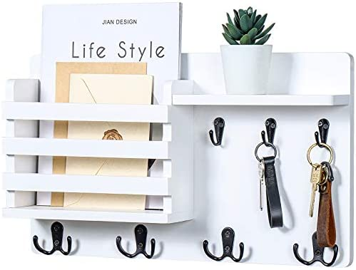 "Mail Holder for Wall – Rustic Mail Organizer with Key Hooks for Hallway Kitchen Farmhouse Decor – Letter Sorter Made of Natural Pine with Floating Shelf and Flush Mount Hardware (16.8"" x 10"" x 3.2"")"