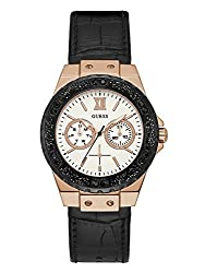 Guess Women's Quartz Stainless Steel & Leather Casual Watch, Color:black (Model: U0775l9)