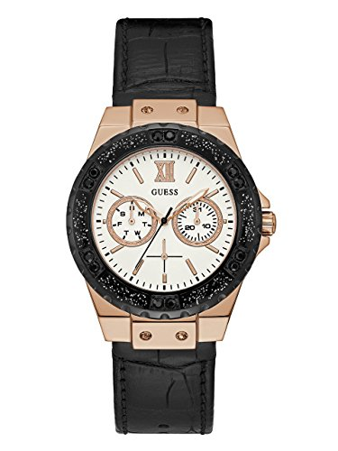 GUESS-Womens-Quartz-Stainless-Steel-and-Leather-Casual-Watch-ColorBlack-Model-U0775L9