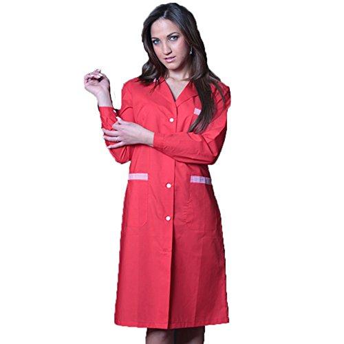 opratrice bicolore travail nettoyage Blouse pour de pour femme ouvrire domestique alimentaire rouge Oqnzwfx