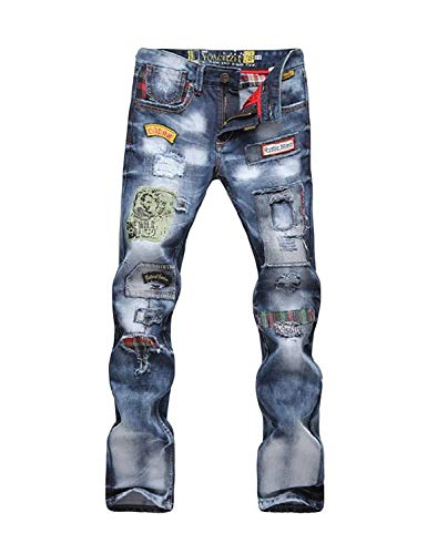 Colour Classiche Fashion Jeans Distrutti Vintage Stretch Uomo Pantaloni Fit Denim Slim Ragazzi Da 7dww0qz