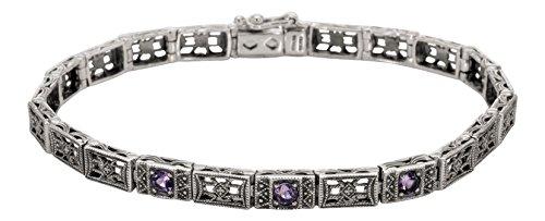 Art Deco Style Sterling Silver Filigree Amethyst Link Bracelet