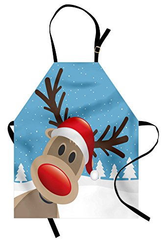 Ambesonne Christmas Apron, Reindeer Rudolph with Red Nose and Santa Claus Hat Snowy Forest, Unisex Kitchen Bib Apron with Adjustable Neck for Cooking Baking Gardening, Brown Blue
