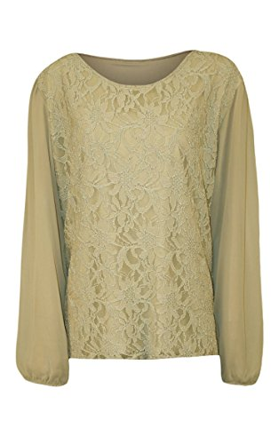 Fashion Top Size 56 Sequin Plus Top Lace Long Stone Manches de Soie Floral 42 Taille Femmes Mousseline 4qCBdq