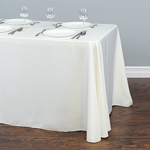 LinenTablecloth LTC-90132-010105 90 X 132 In. Rectangular Polyester Tablecloth Ivory 90 X 132 In. Rectangular Polyester Tablecloth Ivory ()