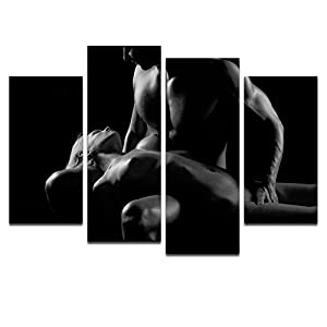 Nude Canvas Prints,Sexy Women Bedroom Wall Decoration Canvas Art,Black And  White Picture Canvas Prints Painting With Frame