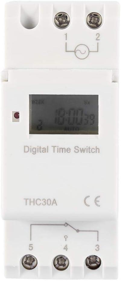 THC Nuevo temporizador programable Interruptor de tiempo Relé digital LCD DIN 30A RAIL AC-DC 12/24/110 / 220V(12V)