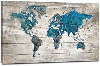 Abstract Watercolor Blue World Map Canvas Wall Art Print