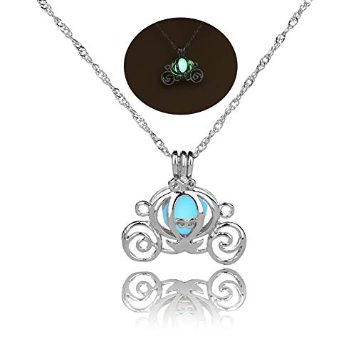 MYANAIL Luminous Hollow Pumpkin Carriage Necklaces & Pendants for Women Glowing Chain Necklace Dropshipping Gifts (Green)