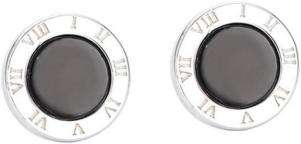 YAZILIND mujeres 925 plata esterlina redonda números romanos negro ágata oreja espárragos moda joyería regalo