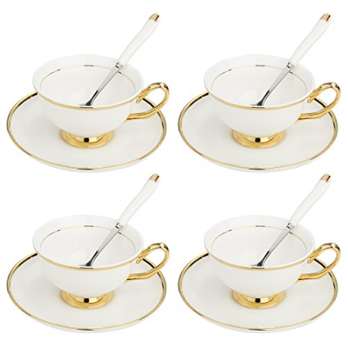 ARTVIGOR New Bone Espresso Cups and Saucer Set of 4 with Gold Rimmed for Coffee and Afternoon Tea, 14.6 X 14 X 4.1 Inches,