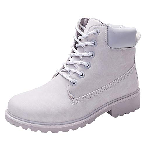 (COPPEN Women Boots Retro Solid Ankle Thick Lace-up Short Round Toe Casual Shoes)