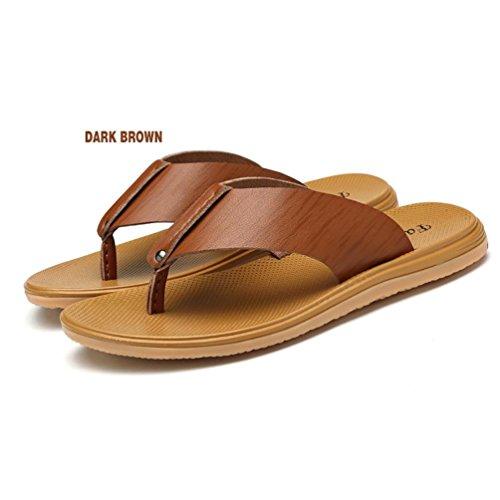 SHANGXIAN Genuino para hombre cuero flip-flops con tanga sandalia Casual  para hombre zapatillas zapatos