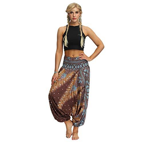 Masun Women's Yoga Pants Casual Loose Harem Trousers Baggy Bohemian Vintage Print Aladdin Wide Leg Jumpsuit Pants Yellow