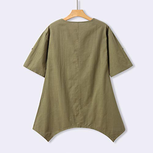 Alangbudu Women's Half Sleeve Tunic Dress V Neck Loose Swing Shift Linen Dresses Green by Alangbudu-Dresses (Image #3)