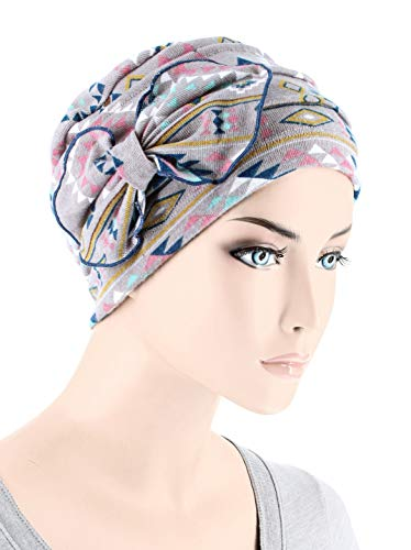 Chemo Summer Hat Ribbed Flower Bow Cloche Beanie Cancer Cap Tribal Navajo Pink