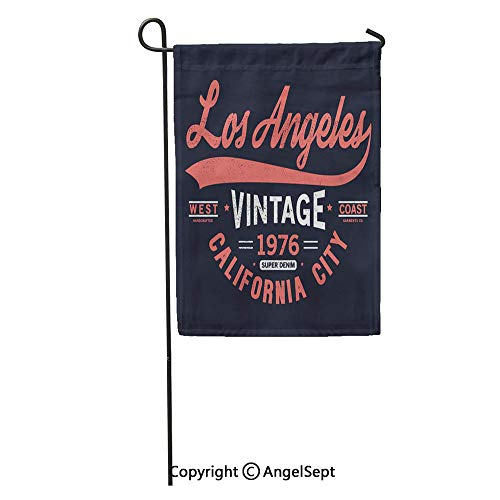 Durable Creative Design 18x27in Garden Flag Graphic Varsity Tee As Print Shirt America Angeles Authentic Badge California Home Yard House Decor Outdoor Stand
