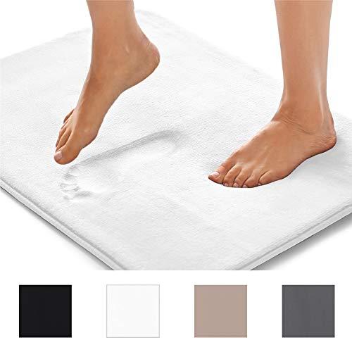 GORILLA GRIP Original Thick Memory Foam Bathroom Rug Mat (30×20 in) Extra Soft + Comfortable Floor Rug Mats, Absorbent, Machine Wash + Dry, Luxury Plush Carpet for Bath Room (Soft White)