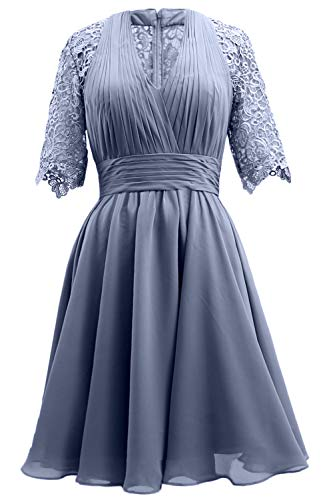 Blue Steel Mother Lace Gown Dress Women Bride Sleeve MACloth Short Wedding Evening Party of qSOOA7
