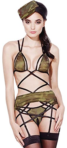 Secy Halloween Outfits (IF FEEL 4pcs Sexy Sheer Army Lingerie Outfit Women's Sleeveless Military Costumes ((US 2-6)S, army green))