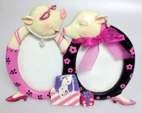 Fancy Pig Dual Picture Frame