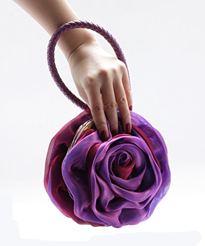 Handbag Lovely Purple Eleoption Bag Clutch Evening Satin Flower Women wX7qzxU4Oq