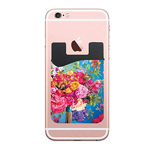 Spectacular Flowers Bouquet Lovely 2 PCS Stretchy Cell Phone Stick On Wallet Card Holder Phone Pocket Compatible with iPhone, Android and All Smartphones