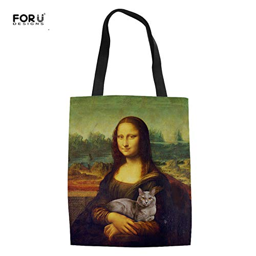 Amazon.com: FORUDESIGNS Lovely Girls Casual Linen Tote Bags Vinatge Mona Lisa Summer Beach Handbags for Women Animal Cat Eco Shopping Bags Color CC7023Z22: ...