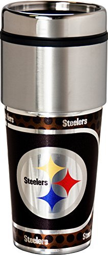 NFL Pittsburgh Steelers Sports Team Logo 16 Ounce Stainless Steel Travel Tumbler Metallic Graphics by Great American Products