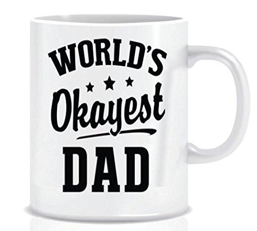 WORLD'S Okayest DAD - Coffee Mug in Blue Ribbon Gift Box - 11 oz
