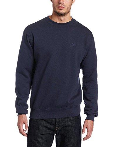 Champion Men's Pullover Eco Fleece Sweatshirt (L, Navy (no contrast))
