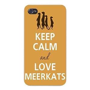 Apple Iphone Custom Case 5 / 5s White Plastic Snap on - Keep Calm and Love Meerkats