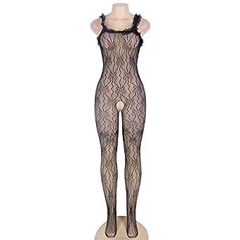 52b23879f90 Maxde Women s Plus-Size Spandex Net Suspender Fishnet Bodystocking Sexy  Lingerie ...