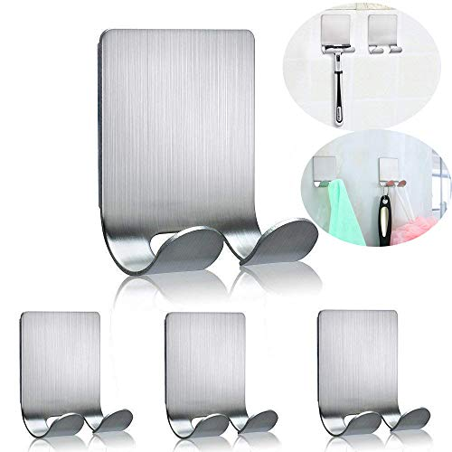 Razor Holder for Shower Multi Purpose Adhesive Hooks Sticky Wall Hanger Stainless Steel Shower Hooks for Hanging Shaving Razor, Plug, keys, Kitchen Utensils, Towel, Robe, Loofah and more-4 Packs