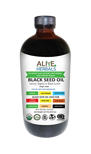 Alive Herbal Black Seed Oil Indian, Cold Pressed Organic -100% Raw, First Pressing, Unfiltered, Vegan & Non-GMO, No Preservatives & Artificial Color Amber Glass 16 OZ by Alive herbal (Image #2)