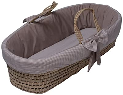 Baby Doll Bedding Gingham Moses Basket Khaki from Baby Doll Bedding