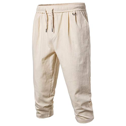 (TANLANG Men Casual Stretch Fit Drawstring Summer Quick Dry 3/17 Capri Pants Outdoor Hiking Skate Shorts Cropped Trousers Khaki)