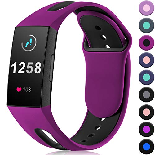 Maledan Compatible with Fitbit Charge 3 Bands for Women Men, Fuchsia Black, Small