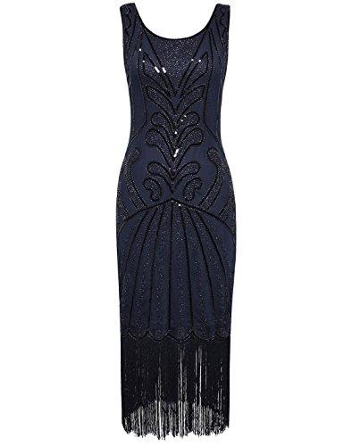 [PrettyGuide Women 1920s Vintage Beads Art Deco Inspired Cocktail Flapper Dress M Navy] (Blue Flapper Dress)