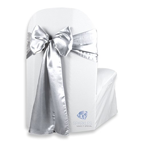 (Sparkles Make It Special 200 pcs Satin Chair Cover Bow Sash - Silver - Wedding Party Banquet Reception - 28 Colors Available)