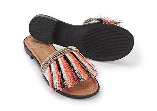 Sandale Ziemlich Slider Fransed Sie Orange TnIABU