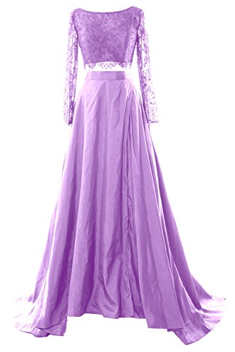 MACloth Women 2 Piece Long Sleeve Lace Maxi Prom Dress 2017 Formal Evening Gown (16w, Lavender)