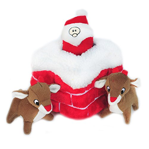ZippyPaws Holiday Chimney Burrow Squeaky Plush Hide and Seek Dog Toy