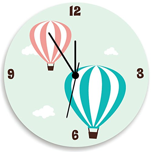 Hot Air Balloon Wall Clock, Kids Wall Clock with Air Balloon, Nursery Wall Hanging