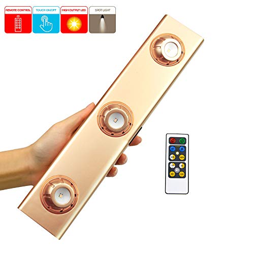 LUXSWAY Remote Light, Rotary 3 Heads Spotlight,Wireless Dimming and Timing, Battery Powered Stick Light for Shelf Cabinet Counter Painting Lighting,Office Indoor Using ()